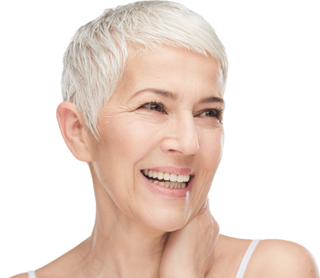 smiling lady wearing life-like dentures