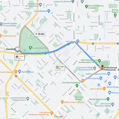 Google Map showing route from Dianella to Morley Denture Professionals