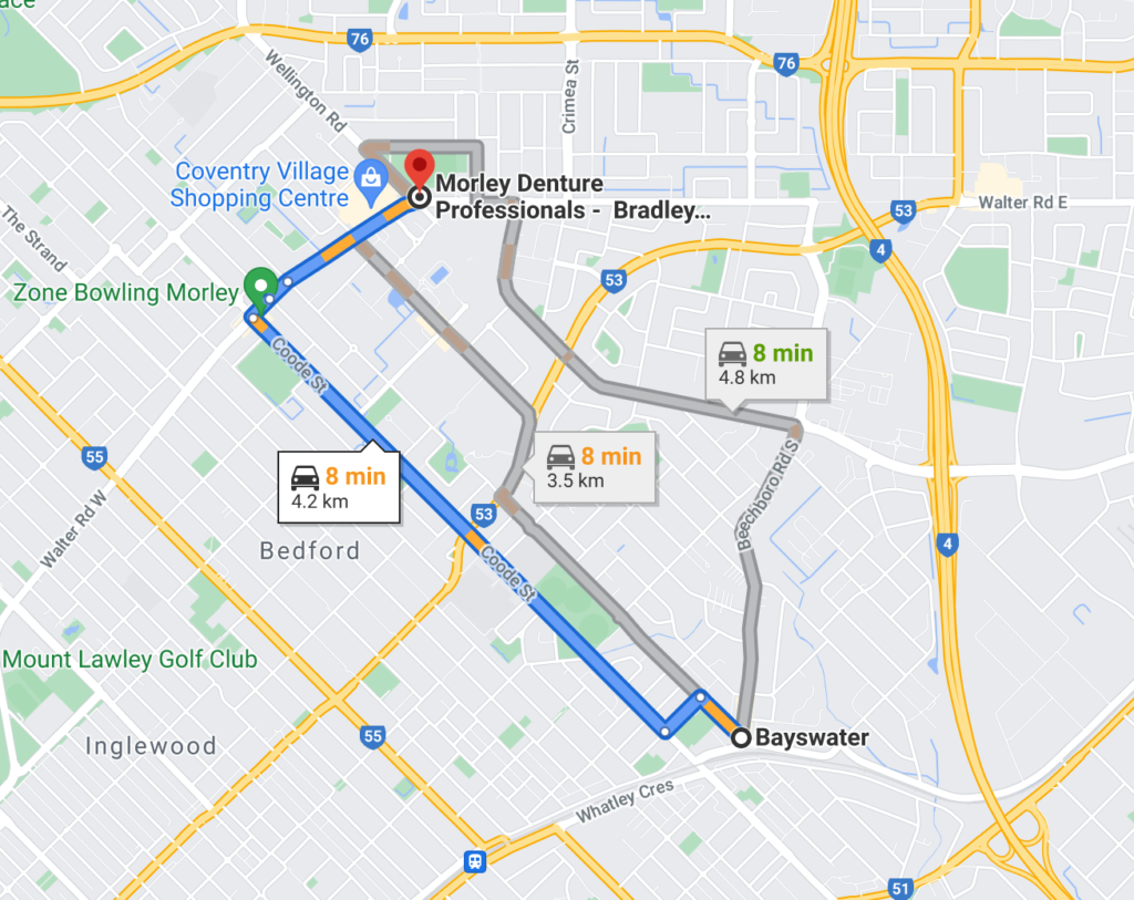 Google Map showing route from Bayswater to Morley Denture Professionals